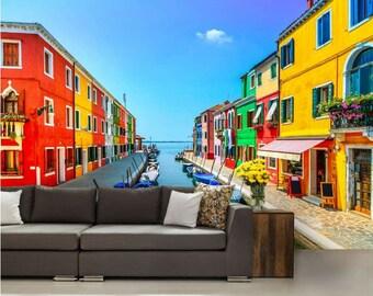 Venice wallpaper, Venice wall decal, Venice wall mural, Burano wallpaper, colorful house wallpaper, colorful city wall decal, colorful mural