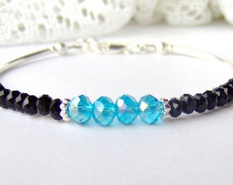 Aqua crystal friendship stacking bracelet March birthday gift for her black crystal aquamarine crystal  best friend gift girlfriend gift