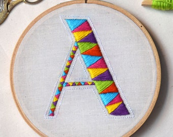 "Hand Embroidered Letter Hoop Art, ""A"""