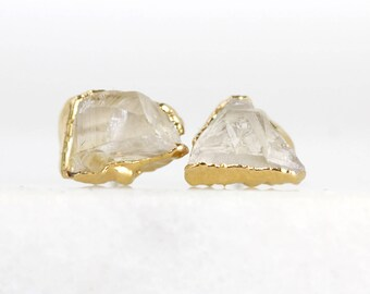 Herkimer Diamant-Ohrringe | Quarz-Ohrstecker | rohen Kristall Ohrstecker | rohen Ohrringe | April Geburtsstein Bolzen | April Birthstone Ohrringe