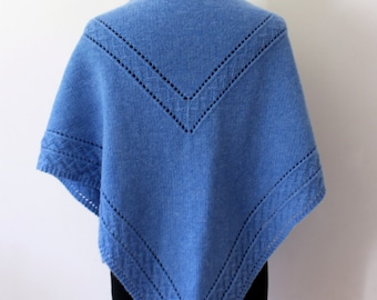 Hand knit blue shawl in merino cashmere