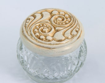 Vintage Avon Face Cream Collectible Lidded Glass Jar, Trinket Box, Upcycled Shabby Chic 1970's