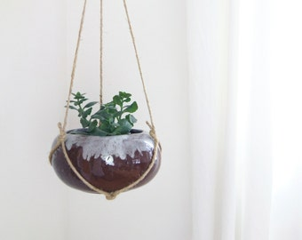 Sale | Large Vintage Drip Glaze Hanging Planter for Succulent | Modern Brown and White Macrame Jute Hanger and Plant Pot | Mid Century Decor