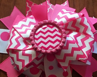 Pink and White Bottle Top Bows