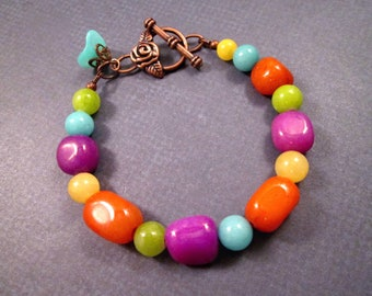 OOAK Mixed Gemstone Bracelet, Colorful Jade Quartzite and Agate, Beaded Copper Bracelet, FREE Shipping U.S.