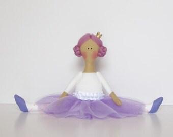 Ballerina doll fabric doll purple white lilac cloth doll stuffed doll softie plush handmade rag doll birthday gift  for girls