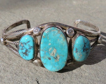 Turquoise Cuff,Native American Turquoise Jewelry,Hopi Turquoise Bracelet,Turquoise Jewelry,Turquoise Silver Cuff,Vintage Hopi Turquoise Cuff