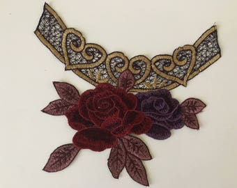 Apply to sew embroidered purple and Burgundy 21 cm * 14 cm