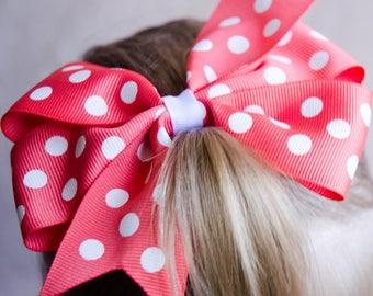 Hair Bow - Salmon and White Polka Dot Print Pinwheel Bow
