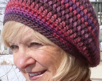 Women's winter hat, slouchy crochet hat in shades of rose, pink and purple, original women's winter fashions, comfortable and chic hat