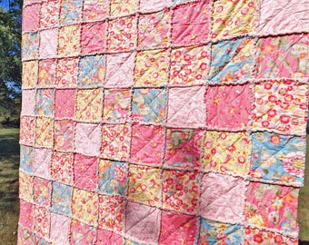 Pink and Blue Twin Rag Quilt - Pink Floral Quilt - Girl Rag Quilt - Twin Quilt