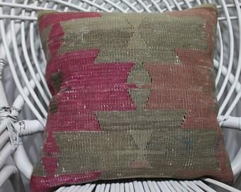 16 x 16 Kilim Pillow Cover Vintage Turkish Kilim Rug Pillow Covers Cushion Covers Geometric Designs Throw Pillows Accent Pillows  2786