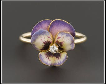 SOLD to G. - Payment 5- 14k Gold Pansy Ring | Purple Enamel Pansy Ring | 14k Gold Flower Ring | Antique Stick Pin Ring | 14k Gold Ring