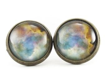 Omega Nebula Stud Earrings, Galaxy Jewelry, Nerd Space Ear Rings (1153BSER)