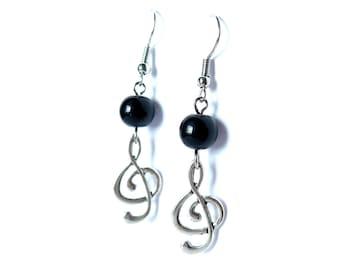Treble Clef with Black Bead Dangle Earrings