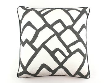 Schumacher Zimba Pillows in Charcoal with Charcoal Welting (Both Sides)