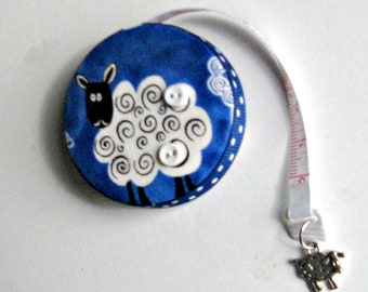 Tape Measure with Sheep for Sewing, Knitting, Crochet, Weaving, Felting and all Fiber Arts, Gift