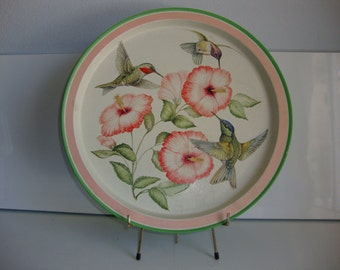 Metal Serving Tray,  Bird Hummingbird Hibiscus,  Country Kitchen Tray,  Serving Tray