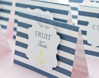 Nautical Dessert Cards- Candy Bar Labels- Nautical Baby Shower - Nautical Wedding - Candy Bar Labels - Set of 5