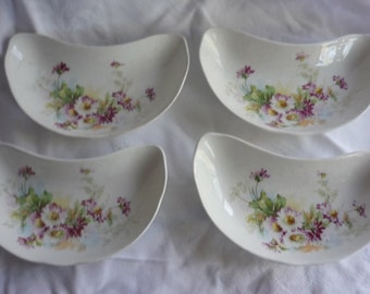 Four Homer Laughlin Colonial Floral Bone Dishes