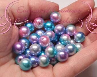 10mm sirène perles Qté 50, chatoyant rose, lavande, Aqua et blanc enduit perles Bubblegum, Gumball, Bracelet en perle, collier perle