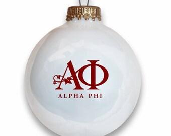 Alpha Phi Christmas Ball Ornament with Logo