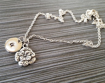Silver Rose Necklace - Detailed Rose Charm Necklace - Personalized Necklace - Custom Gift - Initial Necklace - Dainty Flower Necklace