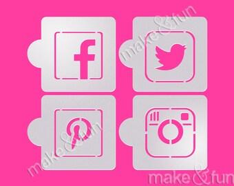 4 pcs Social Media Cake Stencil, Cookie Stencil, Custom Stencil, Schablonekuchen (Product Code LK012)