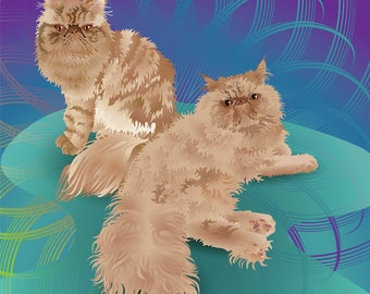 "Custom Cat DUO Portrait - Full body - 10""x10"" Print"