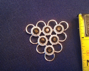 On Sale Silver Toned  Sarah Coventry Brooch with Black Stones