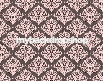 3ft x 3ft Brown and Pink Photography Prop -  Damask Wallpaper Backdrop for Studio Photos - Item 1059