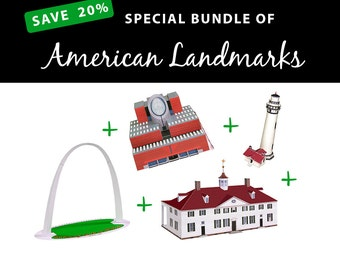 American Landmarks, SAVE 20% Value Papercraft Bundle || Gateway Arch || San Francisco MoMA || Pigeon Point Lighthouse || Mount Vernon