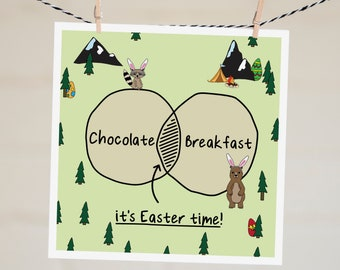 Funny Easter Cards | Easter Card for Kids | Easter Decor | Card for Easter | Happy Easter Card | Easter Wreath | Chocolate Card For Husband