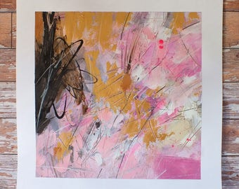 J. Taylor Abstract art mixed media original art, modern artwork, contemporary painting Pinks Gold Copper Black Brown White expressive art