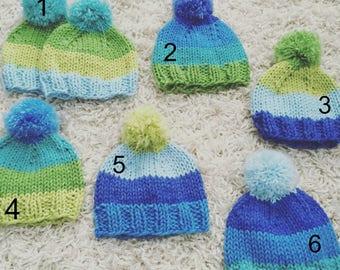 Newborn knit brights striped beanies with pompom, hat, knit, photo prop, gift idea, crochet, stripes