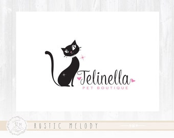 Cat Logo Design Fashion Logo Boutique Logo Pet Shop Logo Kitty Bling Logo Photography Logo