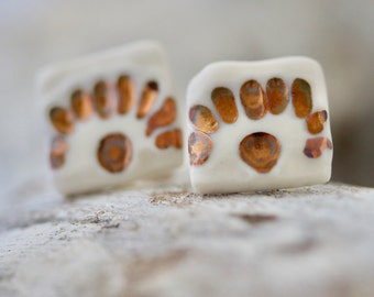 Square Porcelain Earring Studs with Copper Lustre detail