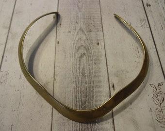 Vintage Brass Hard Collar Choker Necklace, Rustic Jewelry, Bohemian Style
