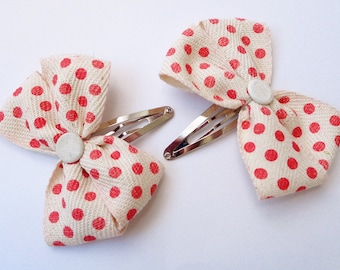 Red Spotted Bow Hair Clip Set