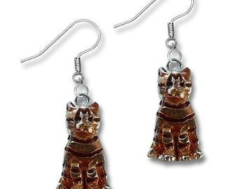 Enamel Orange Tabby Cat Earrings