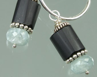Lampwork Glass Beads - Moss Aquamarine- Sterling Silver Earrings