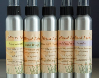 Organic body & linen spray, natural perfume - blends of essential oils and absolutes (4 ounces)