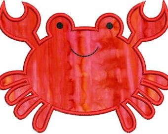 Cute Crab Applique Machine Embroidery Design 4x4 and 5x7 Instant Download