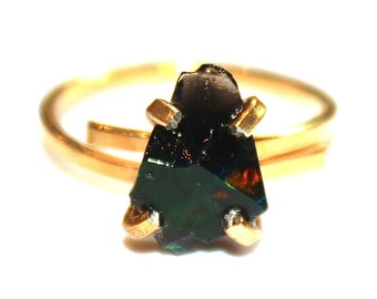 Black Opal Ring Raw Opal Ring Free Form Ring Black Opal Jewelry Prong Set Opal Ring Dark Opal Gold Ring Raw Stone Ring