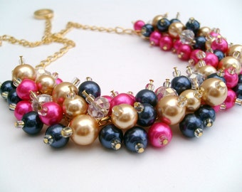 Hot Pink Gold Navy Blue Beaded Necklace, Pink Bridesmaid Jewelry, Cluster Necklace, Chunky Necklace, Bridesmaid Gift, Bridesmaid Necklace