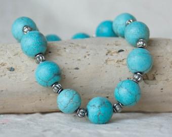 Turquoise-colored Beaded Stretch Boho  Bracelet