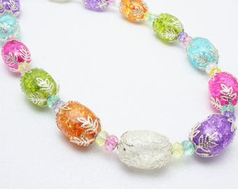 Pastel Beaded Necklace, Cracked Glass Necklace, Multicolor Pastel Necklace, Spring Necklace, Ladys Easter Necklace, Chunky Necklace