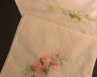 2 Vintage embroidered hankies handkerchiefs