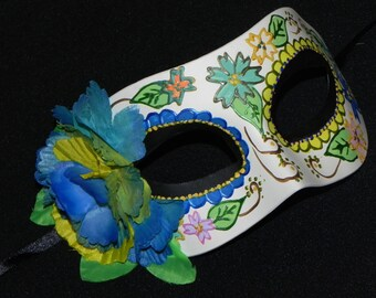 Multi Colored Day of the Dead Mask - Halloween Mask