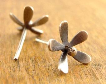 Tiny flower post earrings, flower studs, hand-cut sterling silver flower post earrings, dainty studs, feminine post earrings.